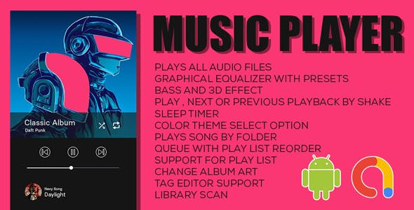 Music Player | Offline Music Player App | Android Full Application with documentation | Admob Ads