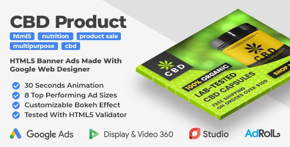 CBD | Nutrition | Supplements HTML5 Banner Ad Templates (GWD)