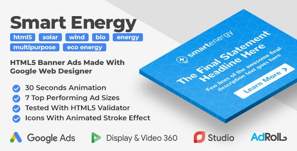 Smart Energy - Eco Energy HTML5 Banner Ad Templates (GWD)
