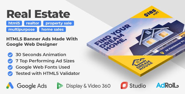 Dream House - Real Estate HTML5 Banner Ad Templates (GWD)