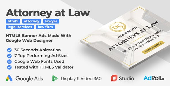 Law Firm - Attorney at Law HTML5 Banner Ad Templates (GWD, jQuery)
