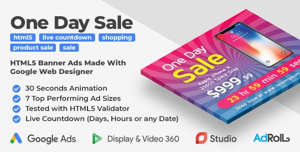 One Day Sale - Shopping HTML5 Banner Ad Templates (GWD)