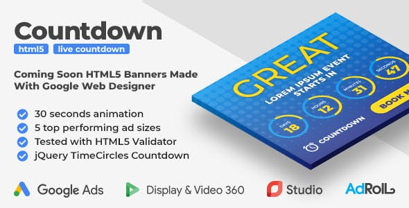 The Countdown - Coming Soon HTML5 Banner Ad Templates (GWD)