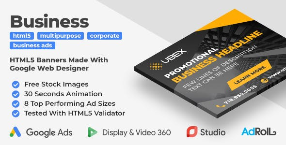 UBEX - Multipurpose Business HTML5 Banners (GWD)