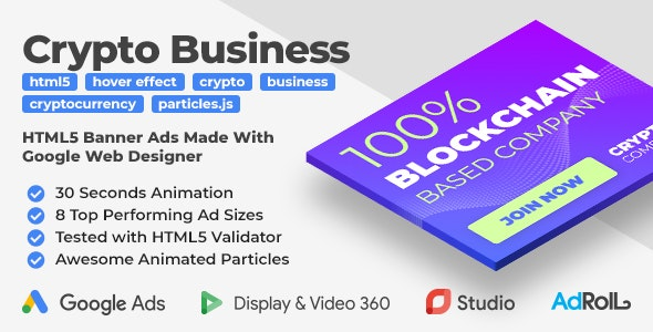 Crypto Company - Cryptocurrency (Bitcoin) Business HTML5 Banners (GWD) - CodeCanyon Item for Sale