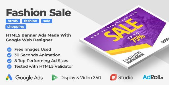 Fashion Sale - HTML5 Banner Ad Templates (GWD)