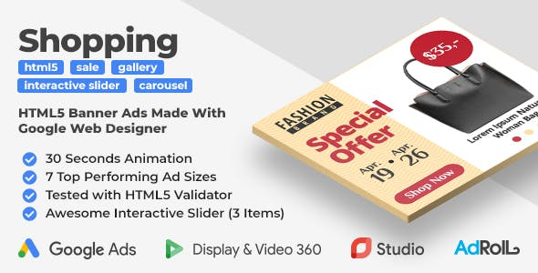 Shopping HTML5 Banners with Interactive Slider (GWD)
