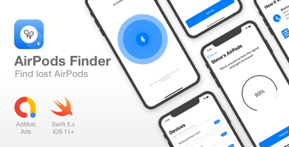AirPods Finder - Locate lost Bluetooth Devices - Full iOS app - CodeCanyon Item for Sale