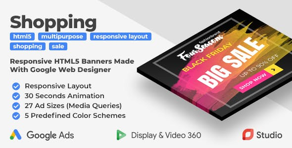 Four Seasons Shopping - Responsive Animated HTML5 Banner Ads (GWD)