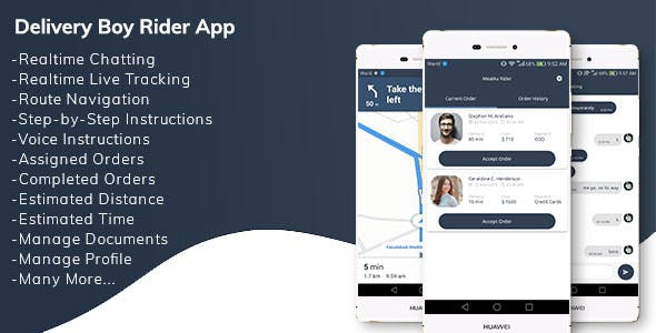 Restaurant Delivery Boy Rider App with Navigation