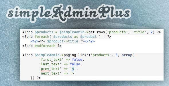 simpleAdminPlus - CodeCanyon Item for Sale