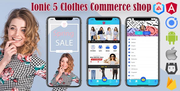Ionic 5 Clothes Shop Commerce App/Full App/with Firebase/Template