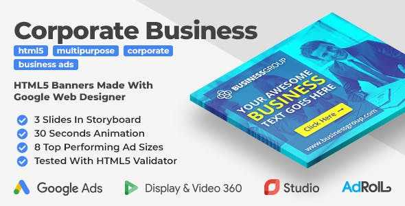 Corporate Business Banners - Animated HTML5 Banner Ads (GWD)