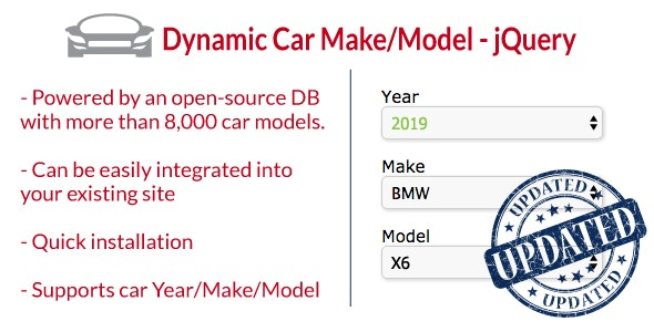 Dynamic Car Make/Model 2019 - jQuery - CodeCanyon Item for Sale