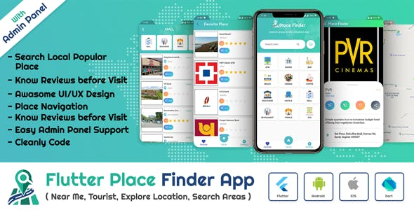 Flutter App Place Finder (Near Me,Tourist Guide,City Guide,Explore Location) with admin panel