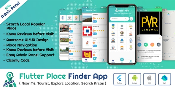 Flutter App Place Finder (Near Me,Tourist Guide,City Guide,Explore Location) with admin panel - CodeCanyon Item for Sale