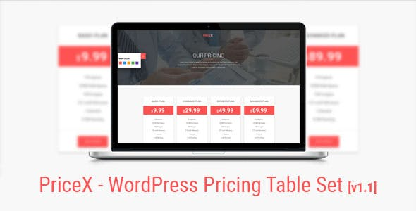 PriceX | Material Design WordPress Pricing Table Set Plugin