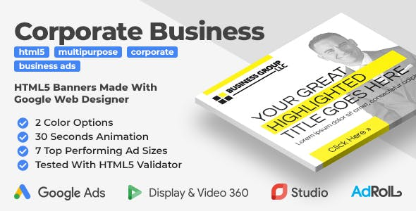 Multipurpose Corporate Business HTML5 Banner Ads (GWD)