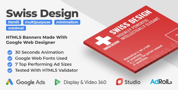 Swiss Design - Minimal Animated HTML5 Banner Ad Templates (GWD)