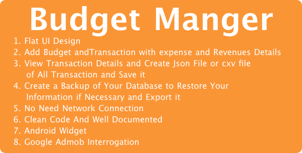 Monthly Budget Manager For Android with Admob