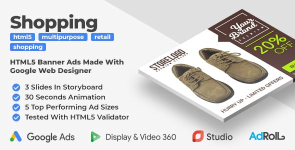 Shopping Footwear & Clothes - Animated HTML5 Banner Ad Templates (GWD)