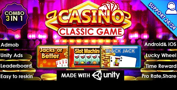 Casino Classic Game – Combo 3 in 1 Unity Template