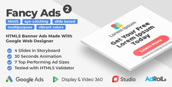 Fancy Ads 2 - Multipurpose HTML5 Banner Ad Templates (GWD)