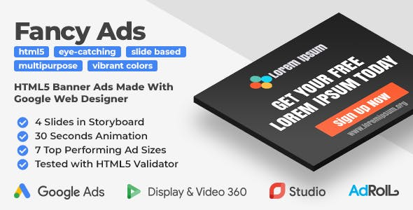 Fancy Ads - Multipurpose HTML5 Banner Ad Templates (GWD)