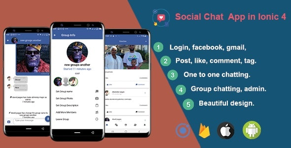 Social Chat - Ionic 5 Real-Time Firebase - CodeCanyon Item for Sale
