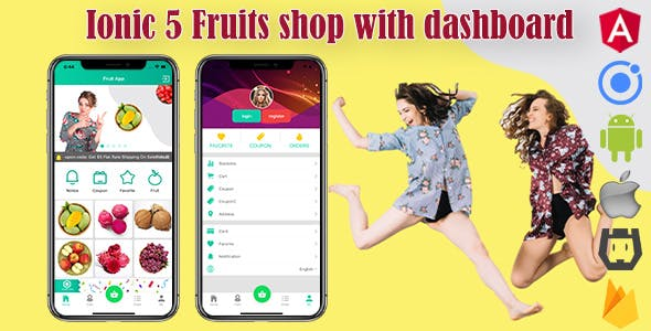 Ionic 5 Fruits Commerce Shop App V2 with Firebase/Admin Backend