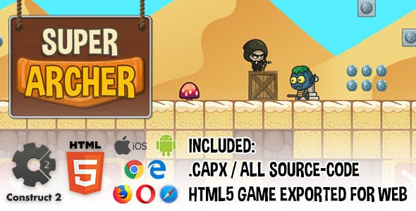Super Archer HTML5 Platform Game - Construct 2 (.capx + source-code)