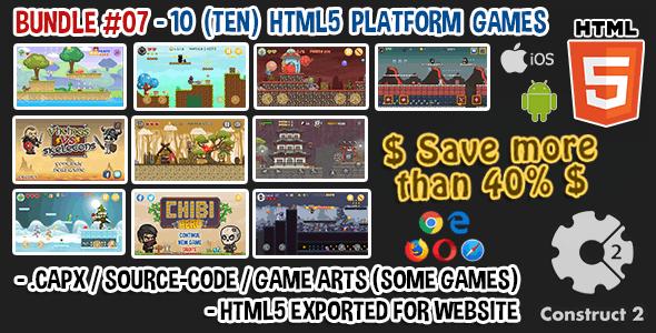 Game Bundle #07 – 10 (TEN) HTML5 Platform Games (Construct 2 .capx / Source-Code)