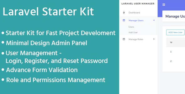 Laravel Admin Starter Kit - User Manager, Role, Permission - CodeCanyon Item for Sale