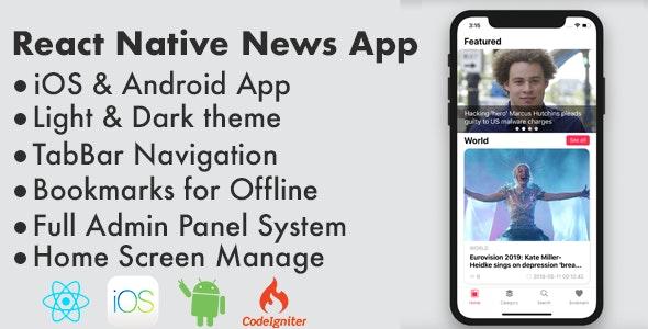 React Native News / Blog / Magazine Full Application - CodeCanyon Item for Sale