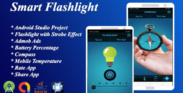 Smart Flashlight + Strobe Effect With Battery Percentage + Temperature + Composs