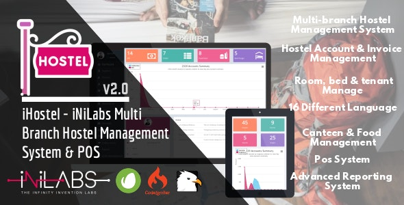 iHostel - iNiLabs Multi Branch Hostel Management System & POS - CodeCanyon Item for Sale