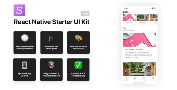 React Native Starter UI Kit - CodeCanyon Item for Sale