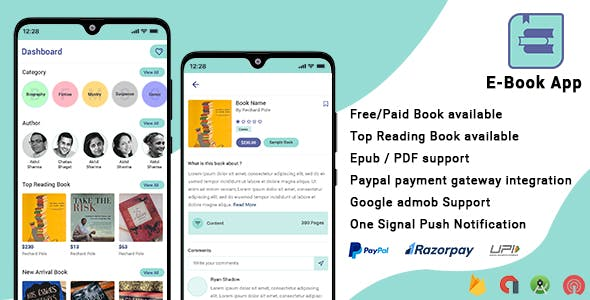 Android EBook App (Books App, PDF, ePub, Download Books, Paid book, payment gateway) + admin panel
