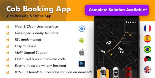 Cab Booking Android + iOS App Template | 2 Apps Rider + Driver | Taxi App Qcabs | HTML + CSS IONIC 3