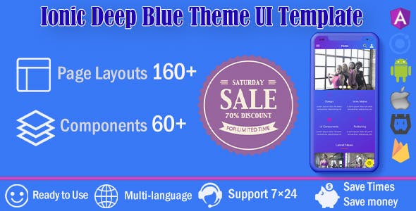 Deep Blue /Ionic 4 / Angular 8 UI Theme / Template App | Starter App
