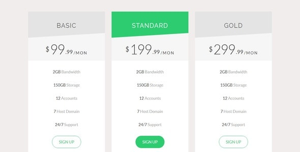Responsive Bootstrap Pricing Table - CodeCanyon Item for Sale