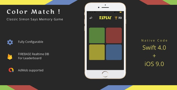 Color Match - A Memory Game - CodeCanyon Item for Sale