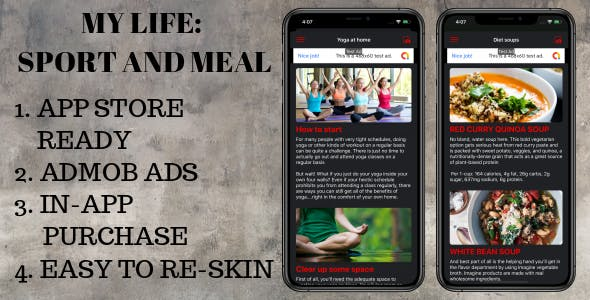 My life: sport and meal - full IOS App