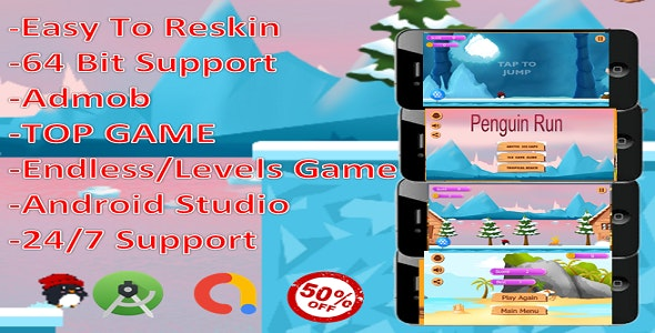 Penguin Run (complete game+admob+android) - CodeCanyon Item for Sale