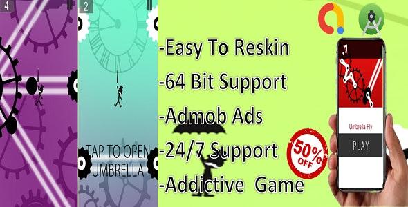 Umbrella Fly(complete game+android studio+admob)
