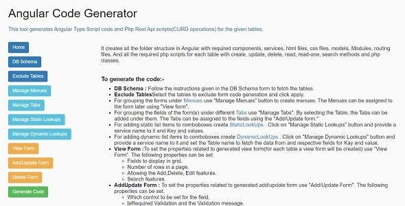 Php Rest Api + Angular TypeScript Code Generator