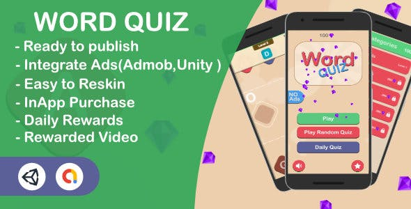 Word Quiz - Learn Words (Unity Complete Game + Admob + Unity Ads)