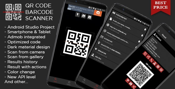 QR code & Barcode Scanner DARK + Admob ads - CodeCanyon Item for Sale