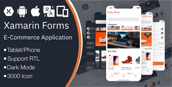 DellyShop eCommerce Application - Xamarin Forms (Android & iOS)