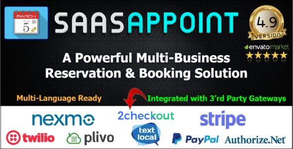 SaaSAppoint - Directory & Multi Business Appointment & Reservation Booking Calendar & SaaS software